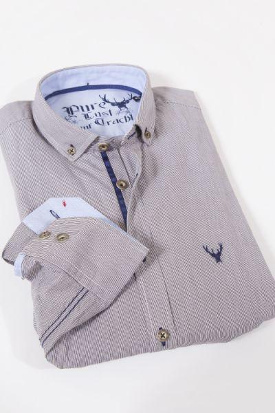 Pure Trachtenhemd als elegantes Herrenhemd mit feinen braunen Streifen Detail