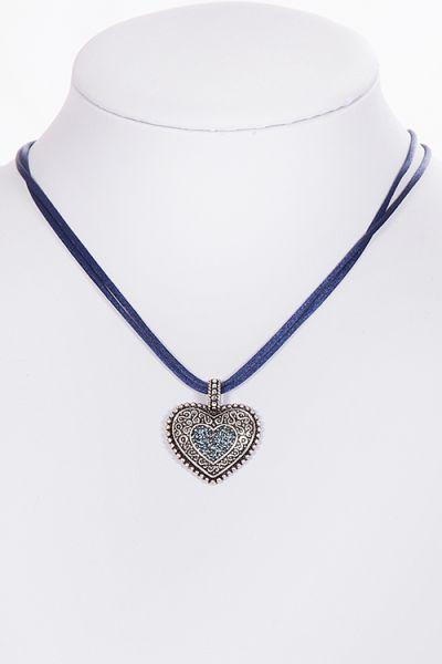 Dirndlkette Trachtenkette Herz marine dunkelblau 2