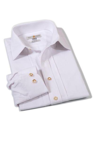 Trachtenhemd Herren in weiß mit spitzem Kragen und Biesen