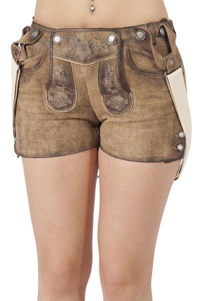 Lederhose kurz für Damen mit Träger lässig hellbraun