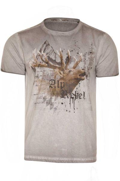 Trachten T-Shirt in grau mit Hirschkopf