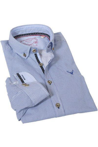 Trachtenhemd mit Retro Muster in blau von pure