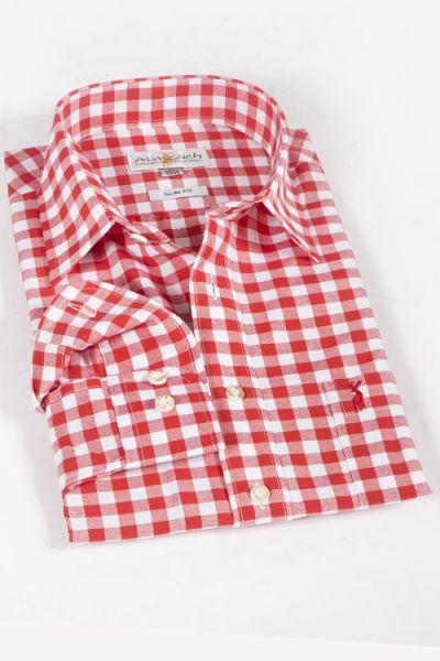 Trachtenhemd rot groß kariert slim fit 1