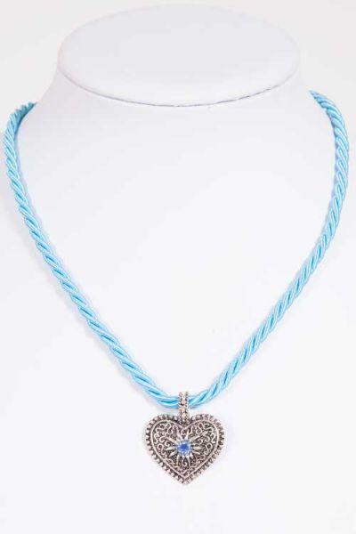 Trachtenkette zu Dirndl und Tracht mit Kordel in hellblau