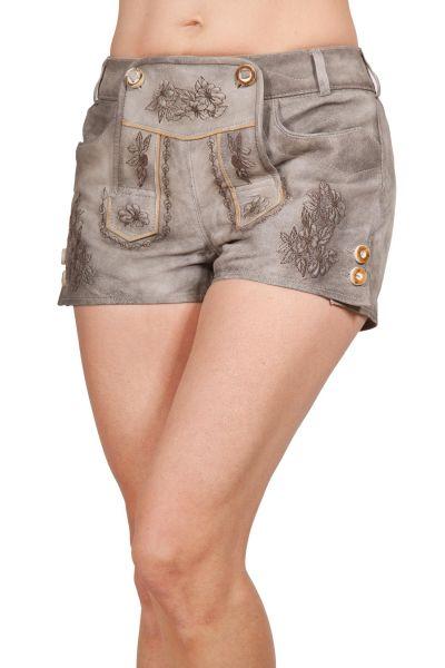 Kurze Damen Trachten Lederhose in grau