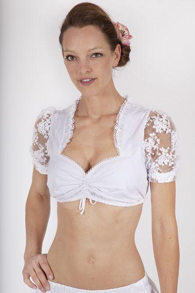 Dirndlbluse Kosira von MarJo in weiß mit Netzärmeln