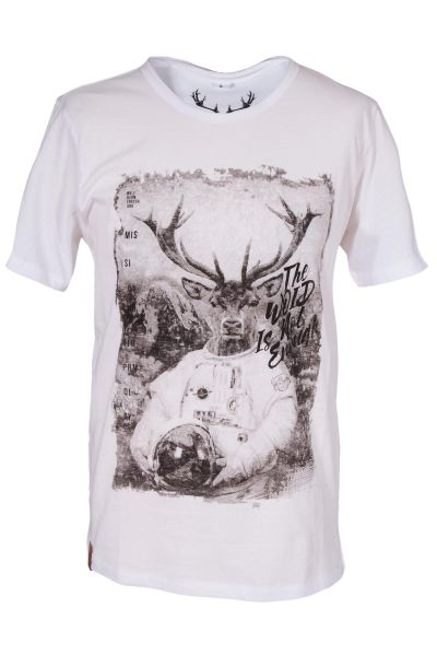 Herren Trachten T-Shirt in weiß mit Hirsch und Woid