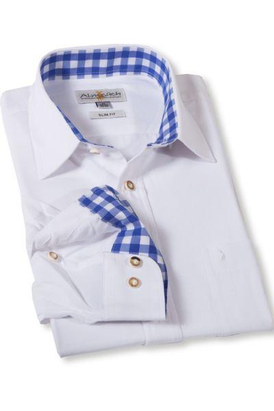 Trachtenhemd weiß blau von Almsach in Slim Fit Schnitt