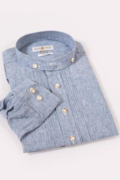 Trachtenhemd Slim Fit in dunkelblau mit Stehkragen und Biesen