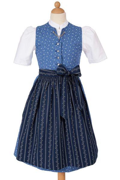 Kinder Dirndl Claudia aus Baumwolle in blau