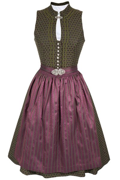 0a7147aa446d61 Midi Dirndl Roswitha traditionell in dunkelgrün und beere | Wirkes