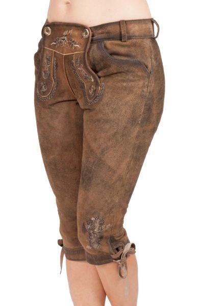 Damen Kniebund Lederhose Suzan in stein