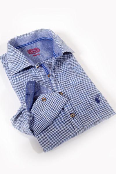 Trachtenhemd in blau weiss kariert von OS Trachten