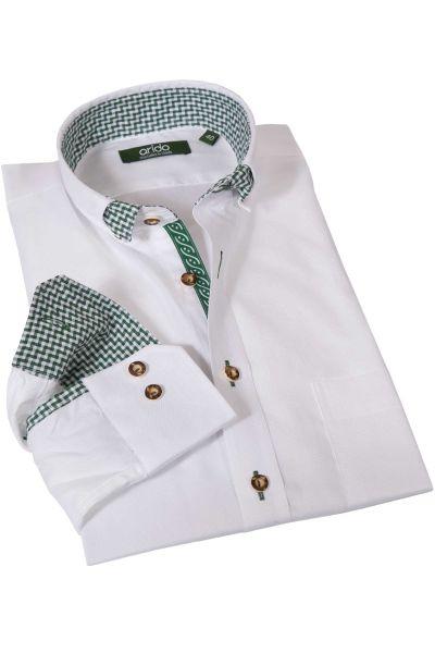 Trachtenhemd in Struktur weiß mit grünem Karo von arido