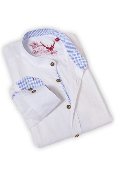 Herren Trachtenhemd weiß leger mit Stehkragen
