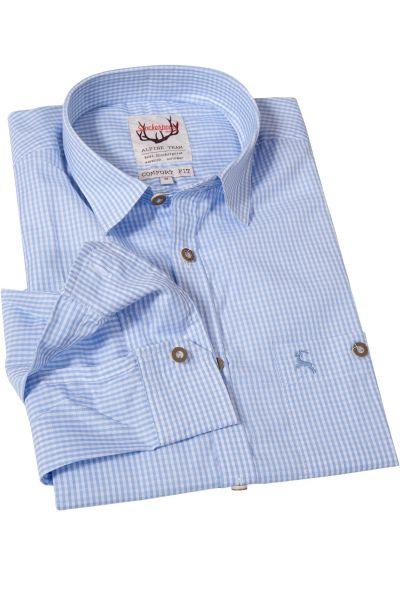 Trachtenhemd klein kariert in hellblau