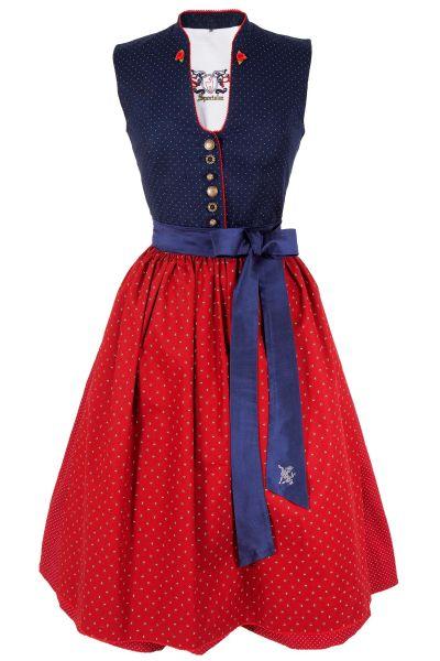 Sportalm Dirndl in dunkelblau und rot aus Baumwolle
