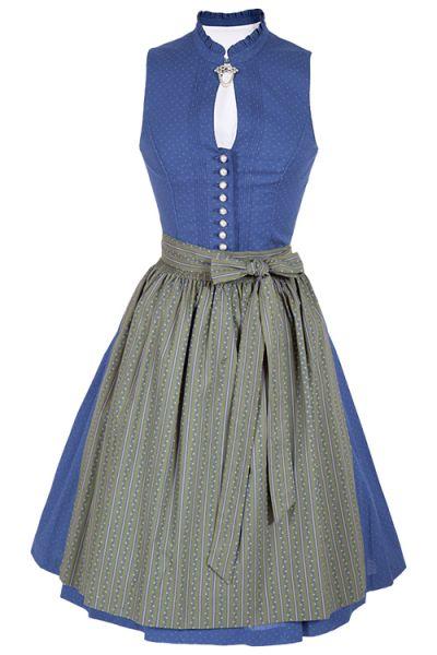 Midi Dirndl Oda hochgeschlossen aus Baumwolle in blau und grün
