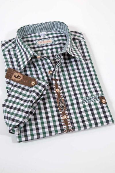 Trachtenhemd im Landhaus Stil mit Karos in grün blau weiß