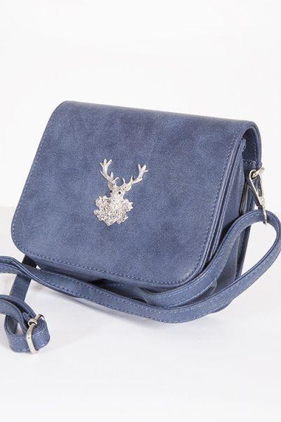 Trachtentasche als Umhängetasche zum Dirndl in blau mit Hirsch