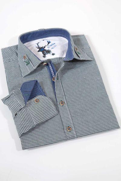 Trachtenhemd in Vichykaro dunkelgrün weiß mit Stick
