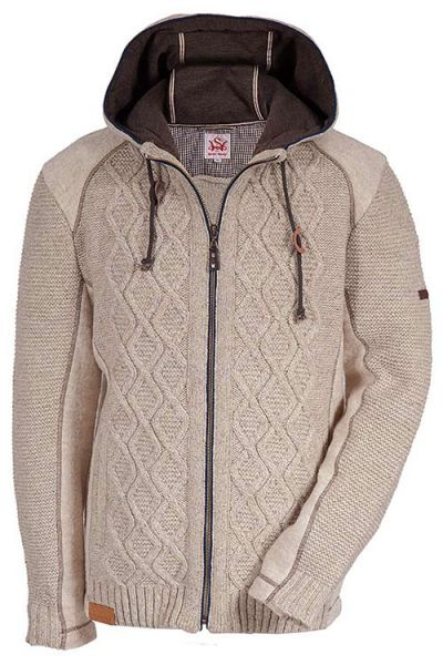Trachten Strickjacke Falcone in beige mit Kapuze