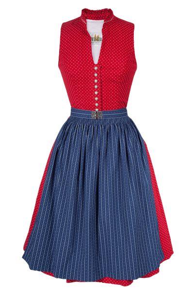 Midi Dirndl Brigitte aus Baumwolle in rot und blau