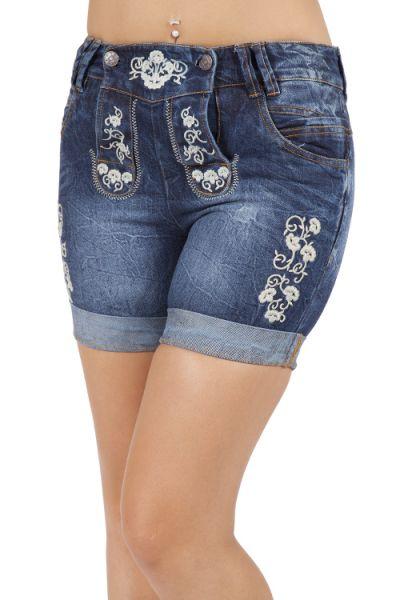 Kurze Damen Jeans Short zur Tracht in blau mit Latz