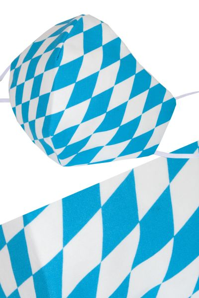 Bayernraute Mundmaske in weiß blau aus Baumwolle