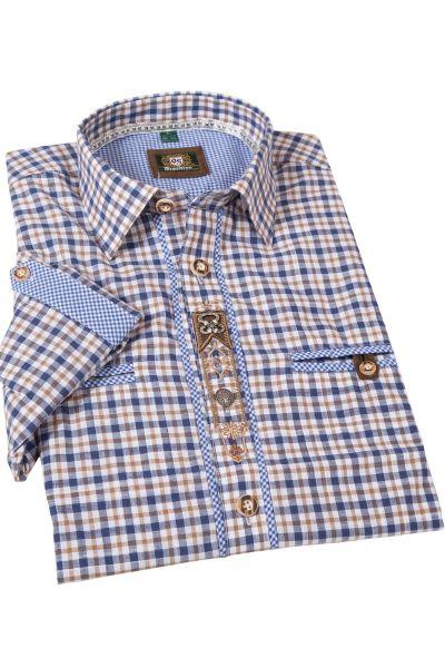 Landhaus Trachtenhemd blau braun kariert