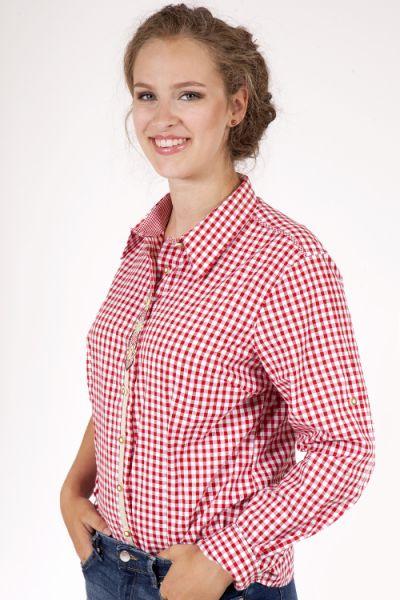 Trachtenbluse mit Edelweiss Stickerei in rot weiß kariert