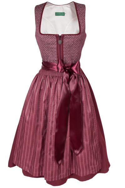 Midi Dirndl in bordeaux mit Vintage Touch