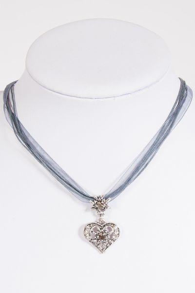 Trachtenkette in grau mit Chiffonband und Herz