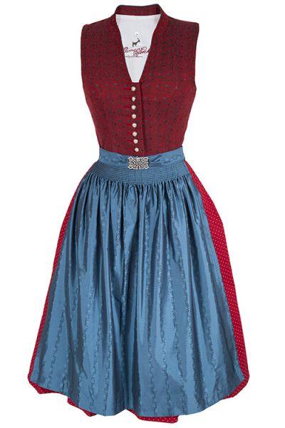 Midi Dirndl in rot mit blauer Schürze von Gamsbock