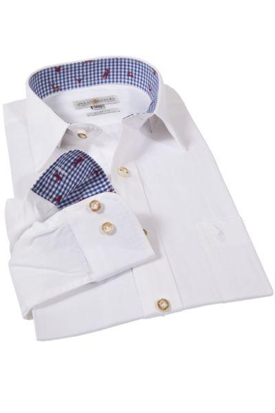 Trachtenhemd in weiß und blau von Almsach mit Slim Fit Passform