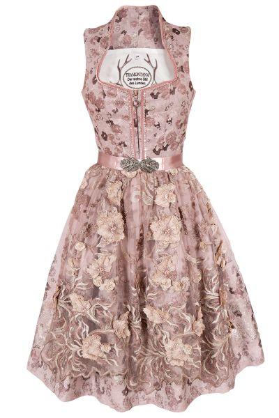 Exklusives Midi Dirndl in altrosa mit Perlen in rosa