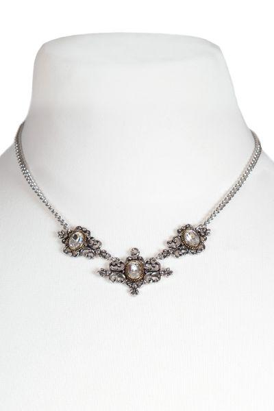 Trachtenkette in silber mit Ornamenten und weißem Stein