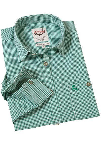 Trachtenhemd Karo in grün mit Liegekragen