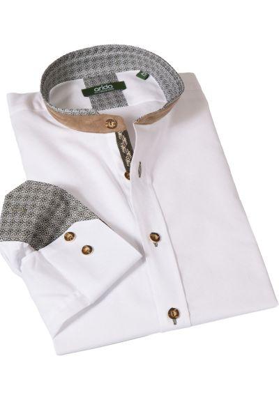 Weißes Arido Trachtenhemd mit dunkelgrünen Details
