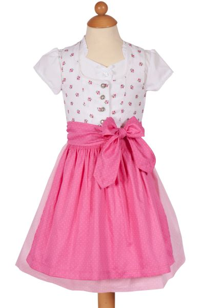 Baby Dirndl in weiß mit Blumen, rosa und pink