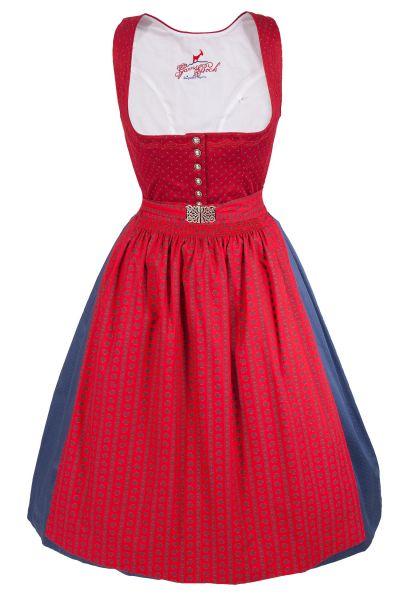 Midi Dirndl Karin aus Baumwolle in rot mit Retro Schürze