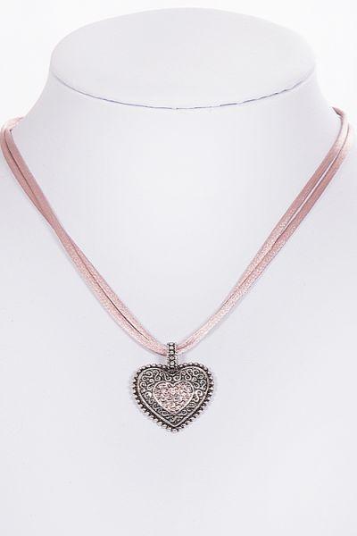 Dirndlkette Trachtenkette mit Herz in altrosa silber 2