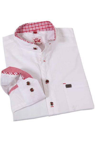 Trachtenhemd in weiß mit Stehkragen und roten Details