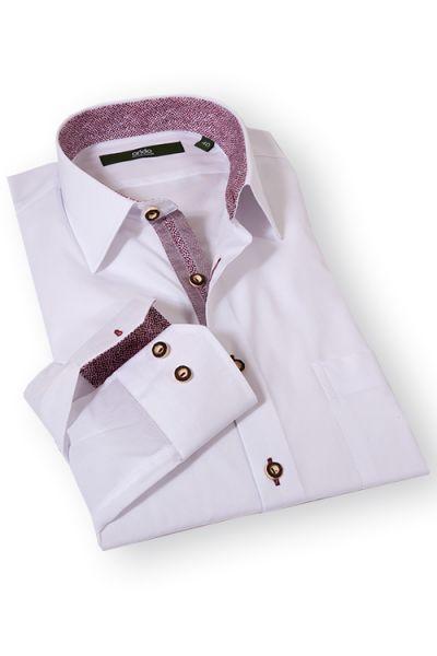 Elegantes Trachtenhemd in weiss und bordeaux von arido