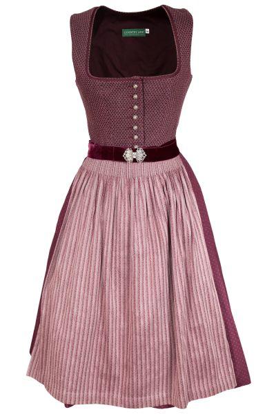 Vintage Dirndl in bordeaux und rosa mit Samtgürtel