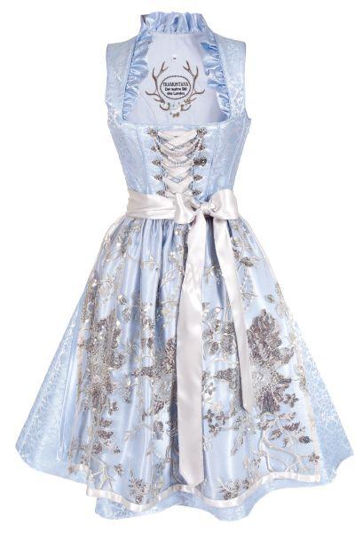 Glamouröses Midi Dirndl in hellblau und silber