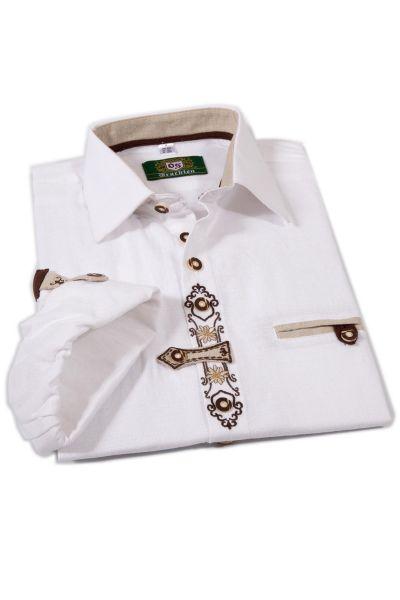 Landhaushemd für Herren aus Leinen in weiß