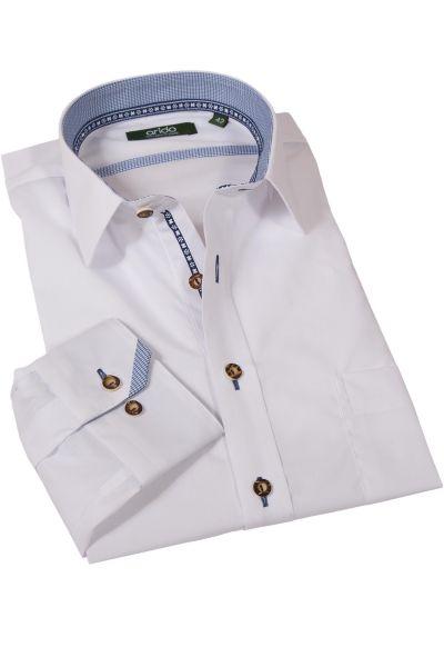 Trachtenhemd klassisch weiß mit Liegekragen