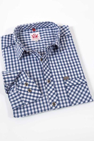 Elegantes Karo Trachtenhemd in dunkelblau Elegantes Karo Trachtenhemd in dunkelblau  Detail