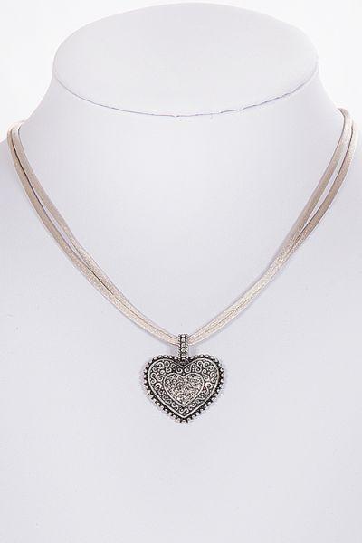 Dirndlkette Trachtenkette mit Herz in sand silber 1